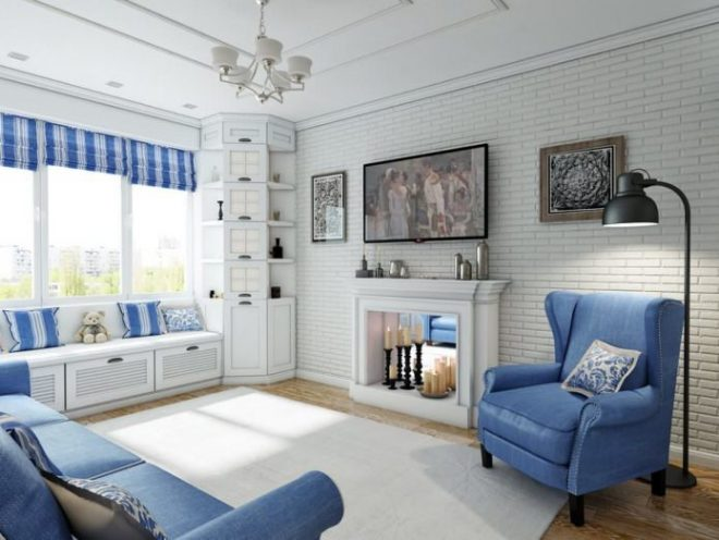 Белый интерьер с голубыми акцентами
