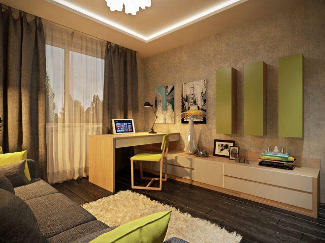 Гостиная в квартире в тёплых тонах