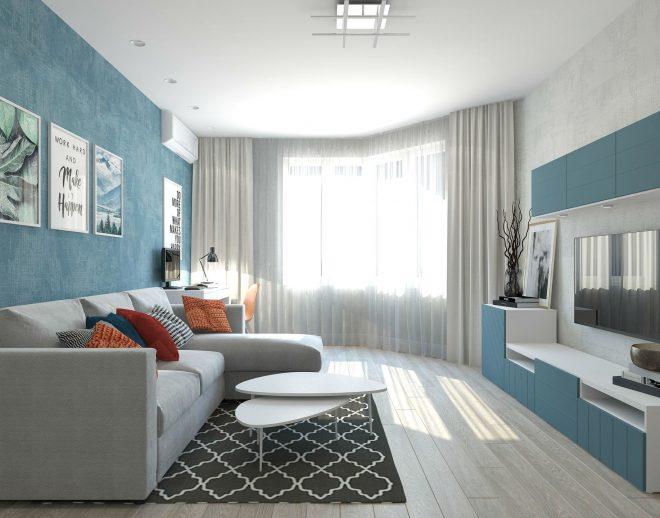 Комната с голубыми стенами