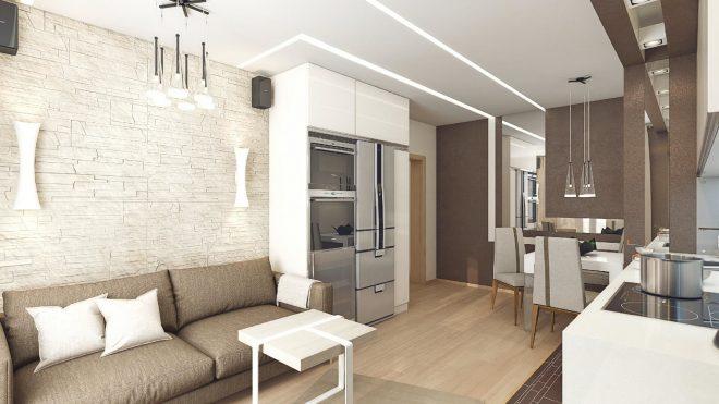 Спокойный дизайн кухни-гостиной