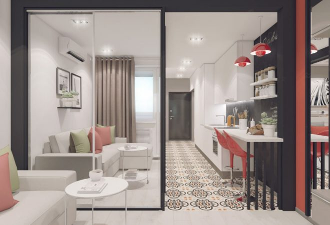 дизайн квартиры студии прямоугольной планировки