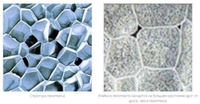 Разница структур пенопласта и пеноплекса