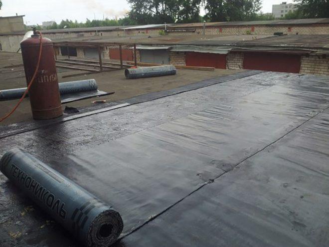 Оклеечная гидроизоляция бетонной крыши