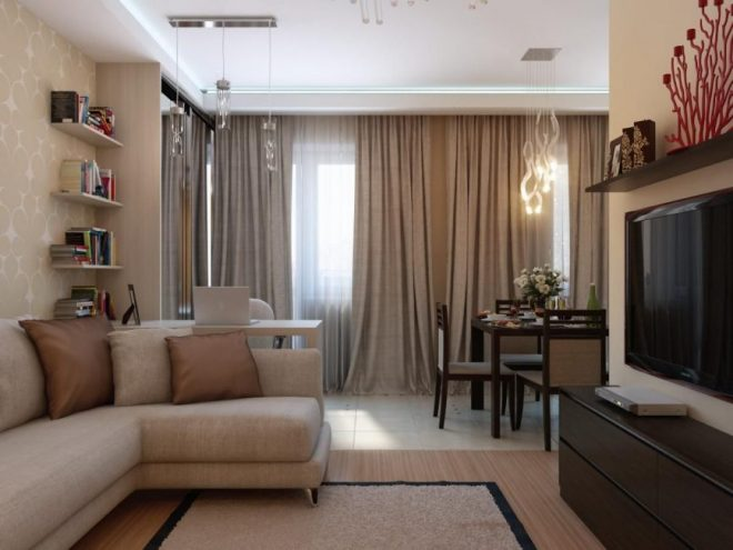 Интерьер комнаты в бежевых тонах