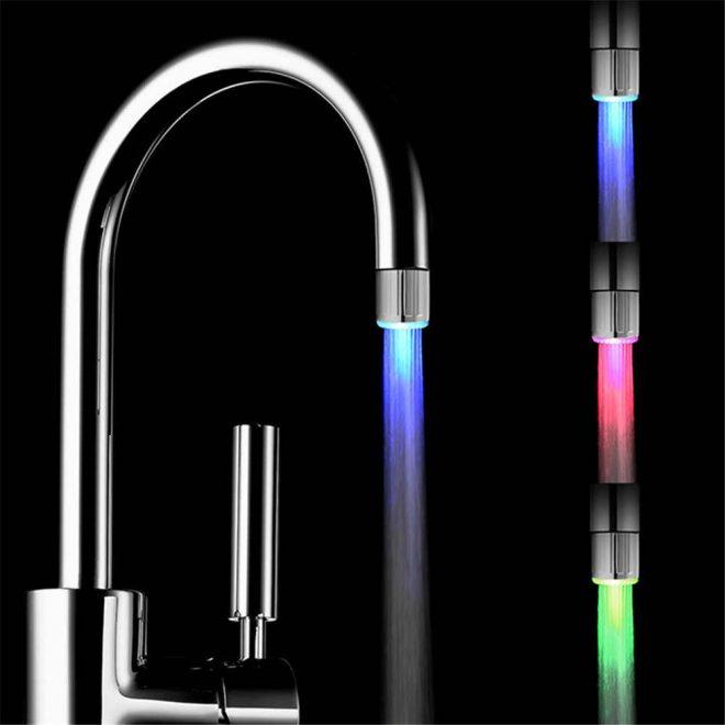 Подсветка воды на смеситель