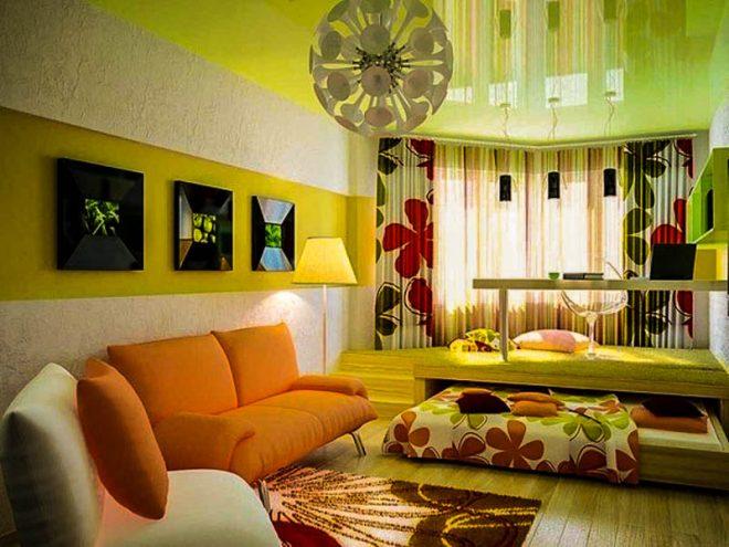 Интерьер комнаты с подиумом