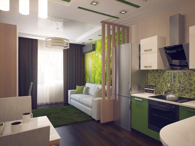 Дизайн студии в коричнево-зелёных тонах с перегородкой