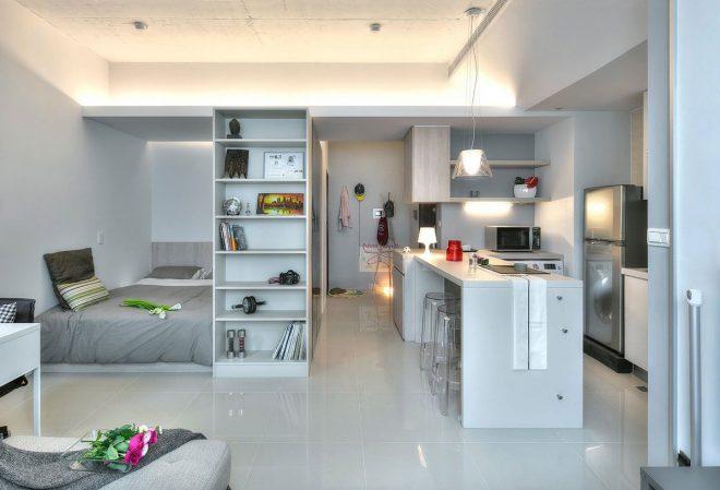 Барная стойка и шкаф в интерьере студии