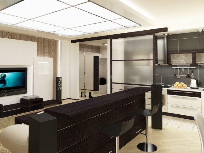 Дизайн студии с раздвижной дверью