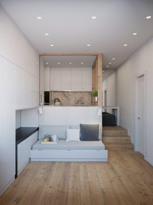 Дизайн прямоугольной студии с лестницей