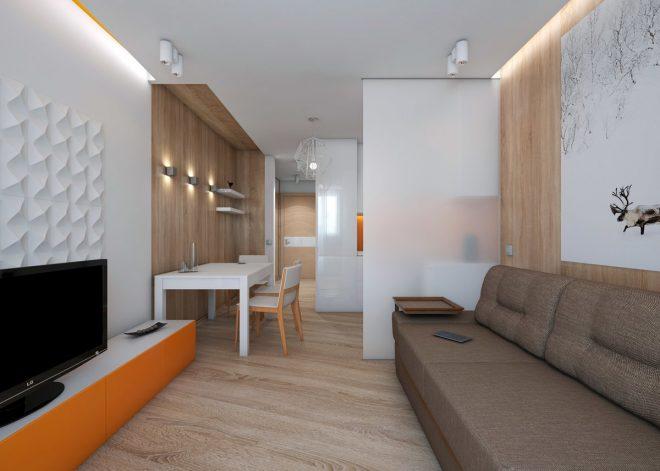 Прямоугольная студия с диваном