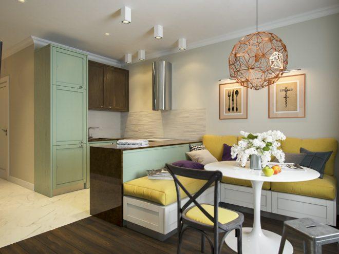 Дизайн квартиры с горчичными акцентами