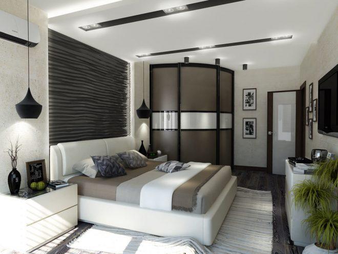 Оформление интерьера спальни неправильной формы