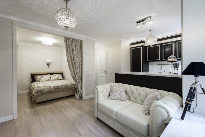 Дизайн квартиры-студии буквой г в светлых тонах