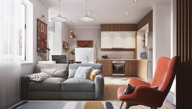 Дизайн квартиры-студии буквой г