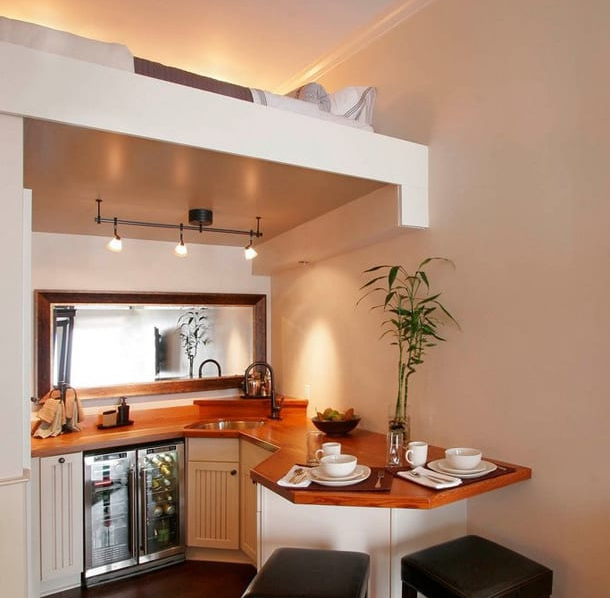 Спальня над зоной кухни
