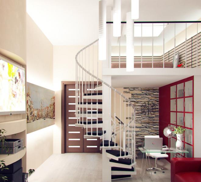 Винтовая лестница в двухъярусной студии