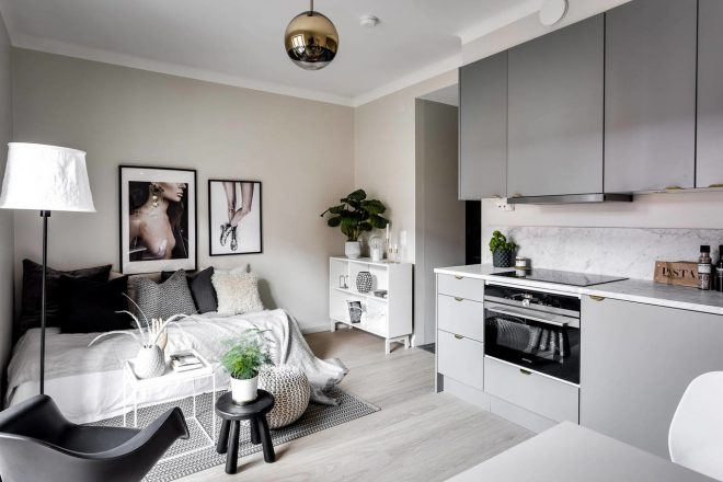 Спокойный интерьер квартиры-студии