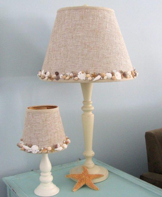 Декор абажура тканью и морскими камнями