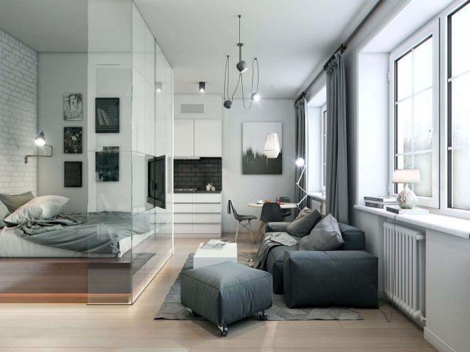 Кухня, совмещённая с гостиной и спальней