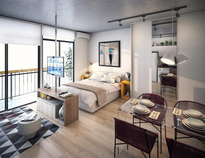 Совмещение гостиной, спальни и кухни