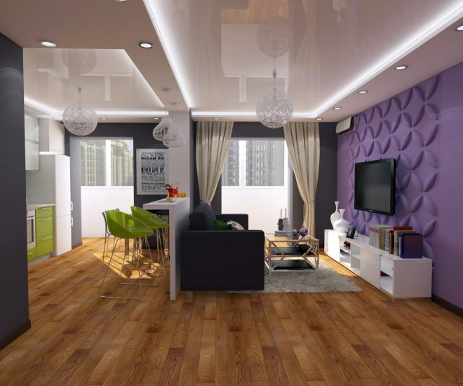 Выделение цветом зоны гостиной