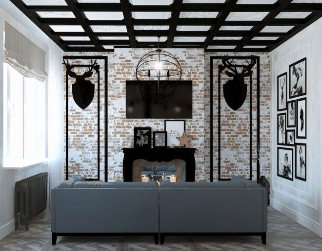 Гостиная с камином в стиле гранж