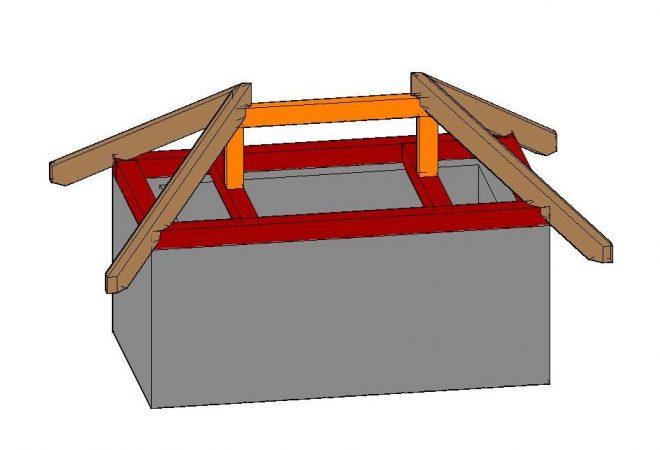 Центральное стропило вальмовой крыши