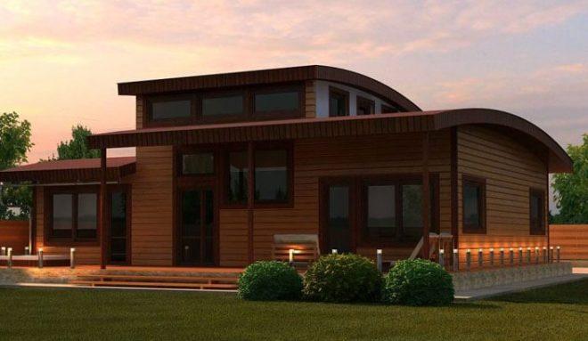 Деревянный дом с плоской крышей