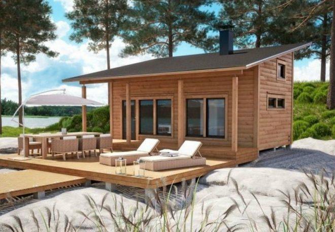 Дом из бруса с односкатной крышей