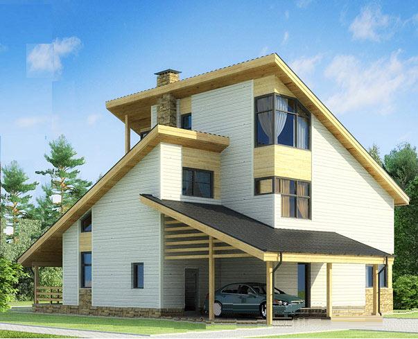 Дом с несколькими односкатными крышами и навесом над гаражом