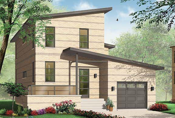 Двухэтажный дом с гаражом под разными крышами