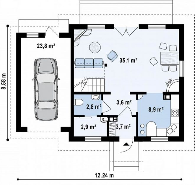 Чертёж дома с гаражом
