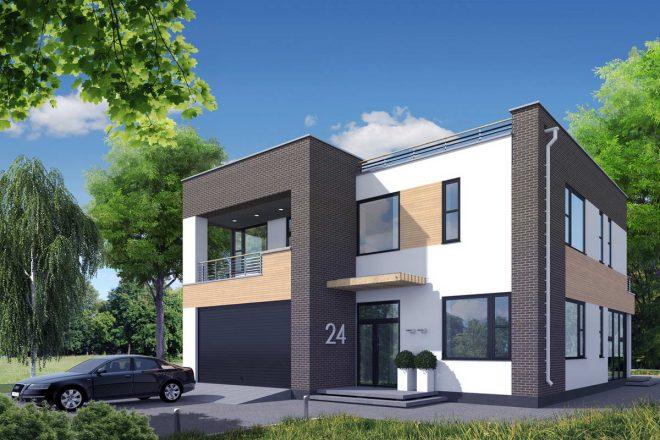 Двухэтажный дом со встроенным гаражом под единой односкатной крышей