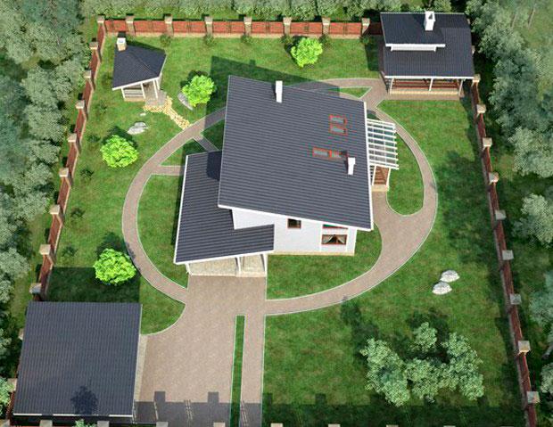 Комплекс строений с односкатными крышами