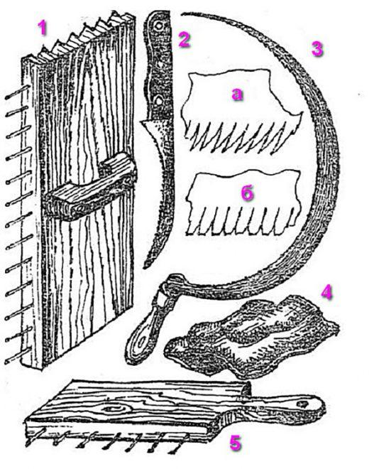Набор инструментов для изготовления камышовой кровли