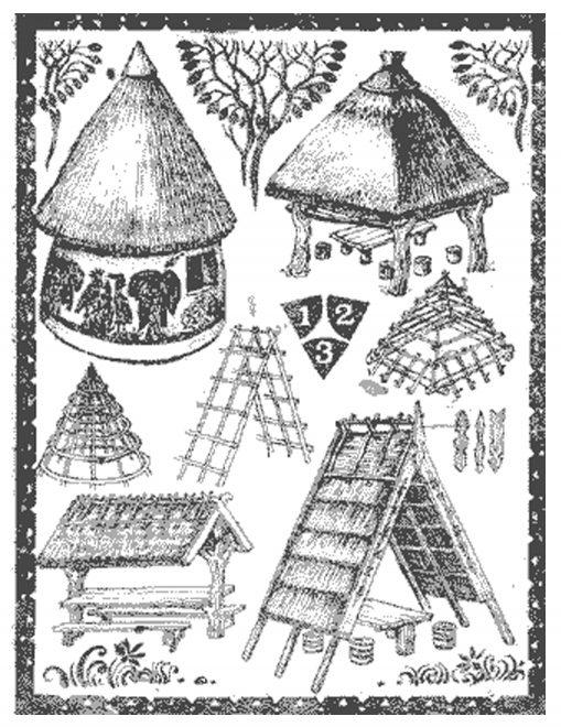 Разные виды наверший соломенных крыш