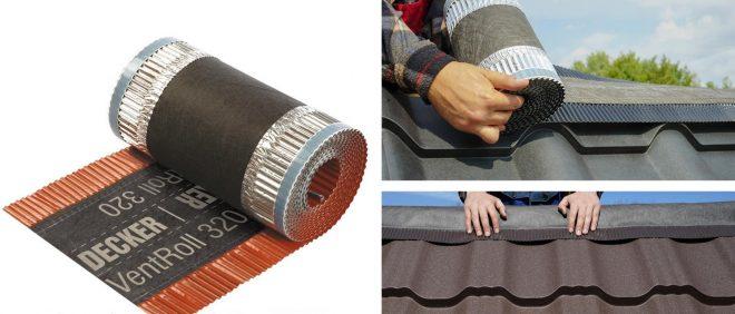 Укладка защитной подконьковой ленты на металлочерепицу