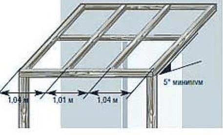 Схема монтажа стропил под поликарбонат