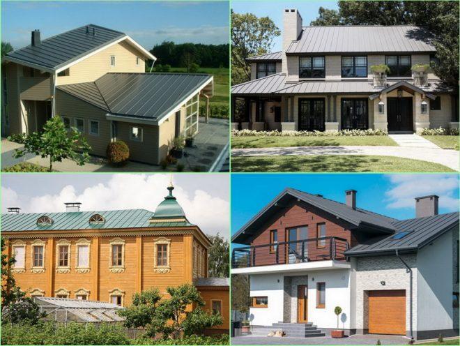 Примеры домов с разными фальцевыми кровлями