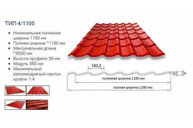 Номинальная и полезная ширина листа металлочерепицы