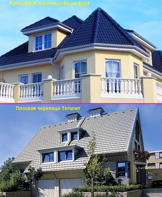 Дома с крышей из цементно-песчаной черепицы
