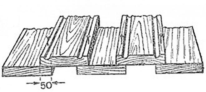 Кровля из тёса в два ряда с разрывом