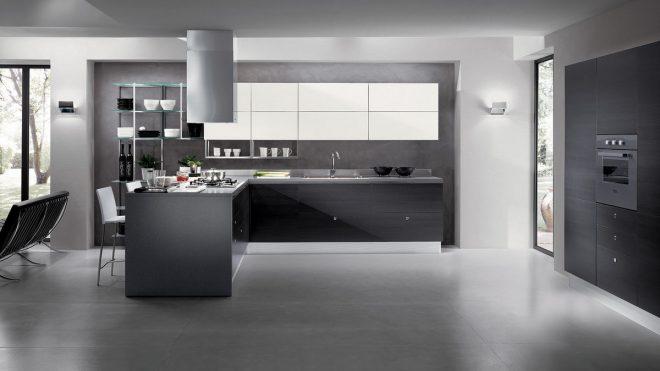 однотонный серый дизайн интерьера