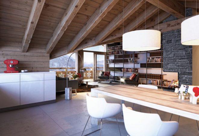 Просторное помещение с наклонным потолком