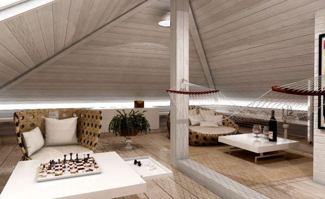 Комната с наклонным потолком