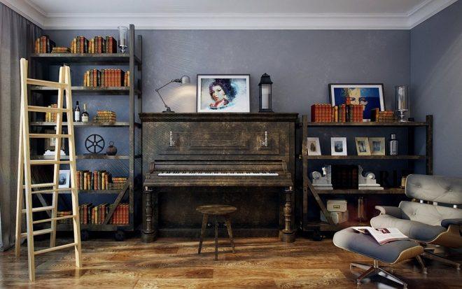 Старые книжные полки в интерьере