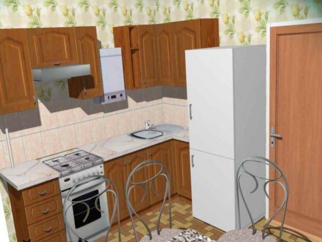 интерьер кухни хрущевки с колонкой и холодильником
