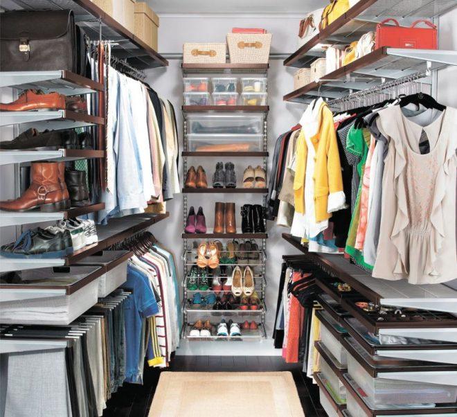 Разные системы хранения для зоны гардеробной и кладовой
