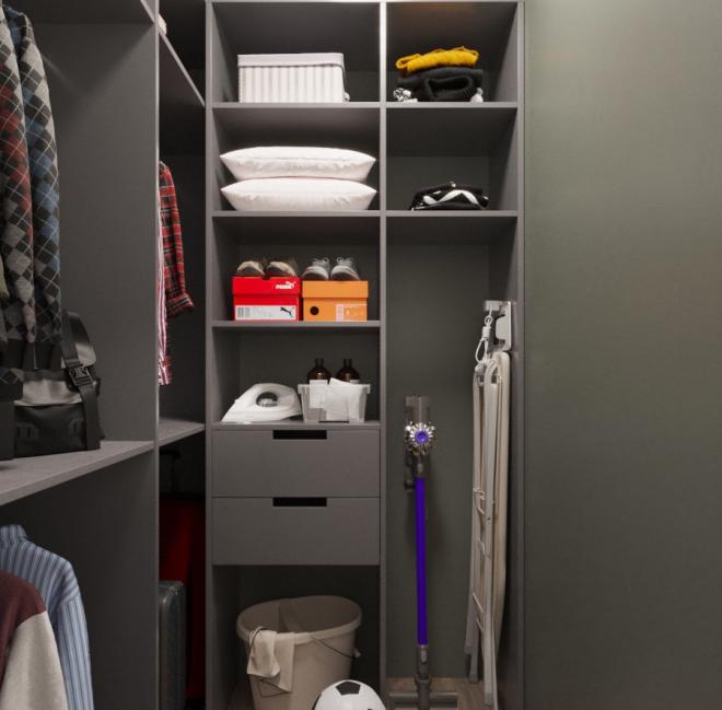 Деление помещения на секции для хранения одежды и бытовых предметов